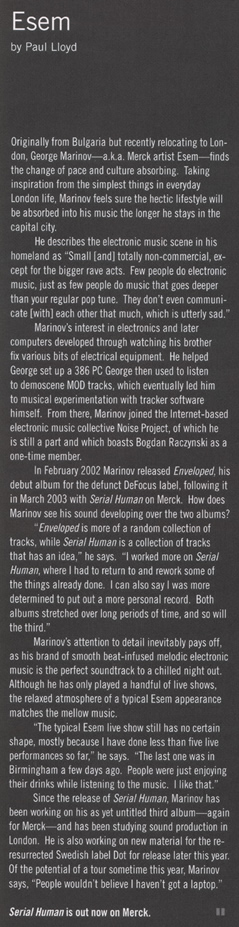 grooves #13 2003 scan - esem interview