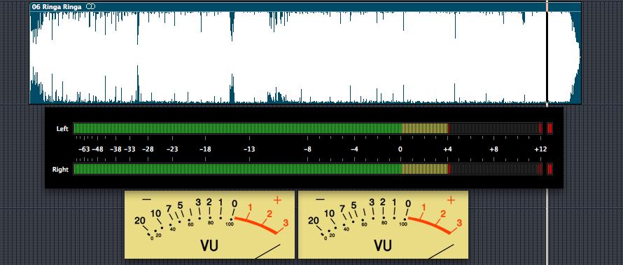 slumdog millionaire: ringa ringa waveform and audio level meters